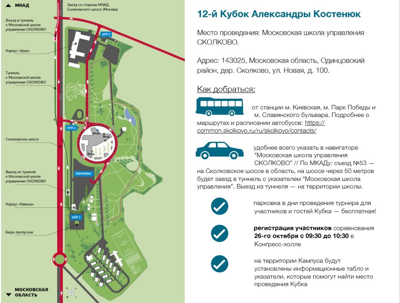 Схема проезда на Кубок Александры Костенюк